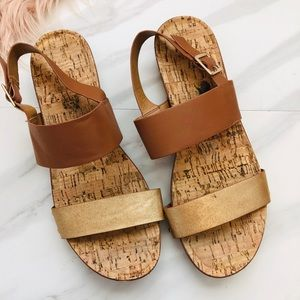 Gold and brown sandals size 8.5
